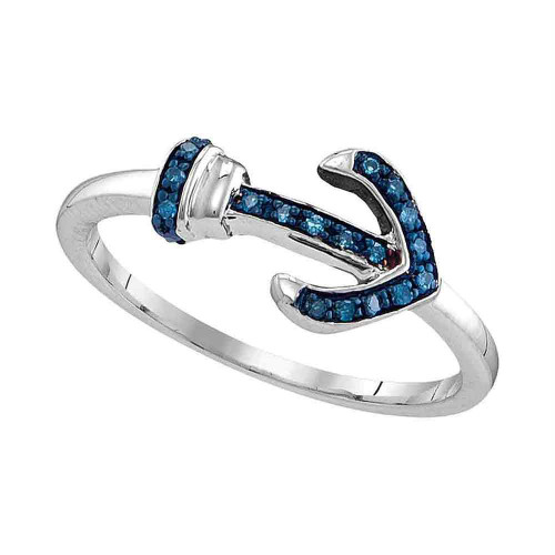 Sterling Silver Womens Round Blue Color Enhanced Diamond Anchor Ring 1/20 Cttw