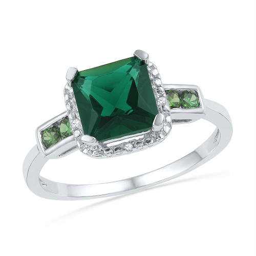 Sterling Silver Womens Princess Lab-Created Emerald Solitaire Diamond-accent Ring 2-1/5 Cttw