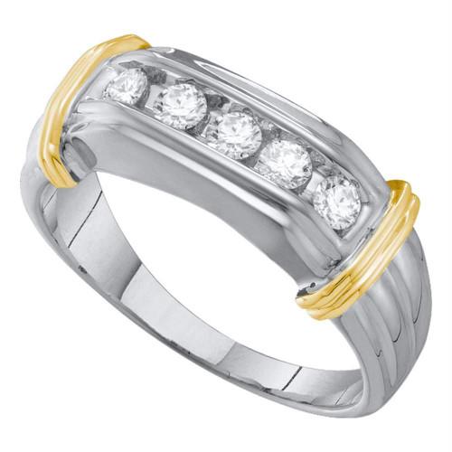 10kt White Two-tone Gold Mens Round Diamond Single Row Wedding Band 1/2 Cttw