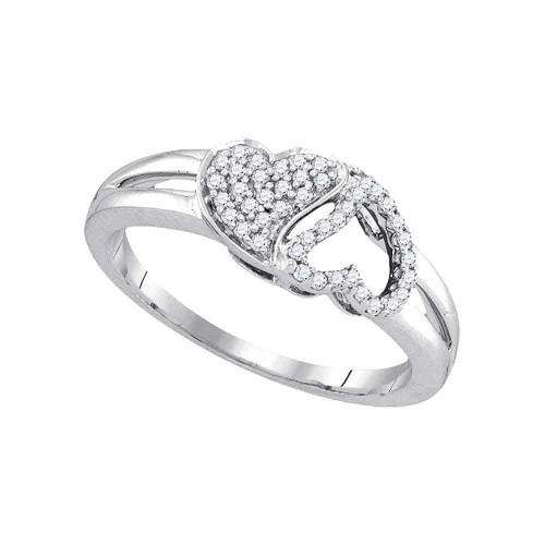 10kt White Gold Womens Round Diamond Double Heart Ring 1/5 Cttw