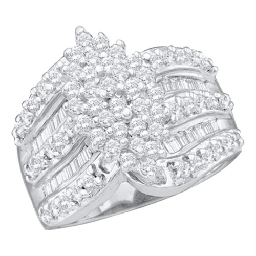 14kt White Gold Womens Round Diamond Marquise-shape Cluster Ring 1.00 Cttw