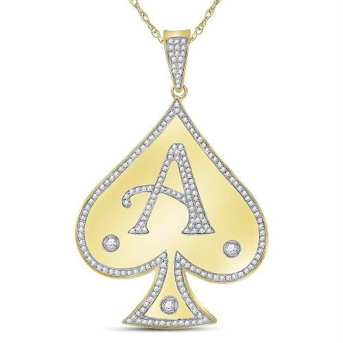 10kt Yellow Gold Mens Round Diamond Spade Aces Charm Pendant 1/2 Cttw