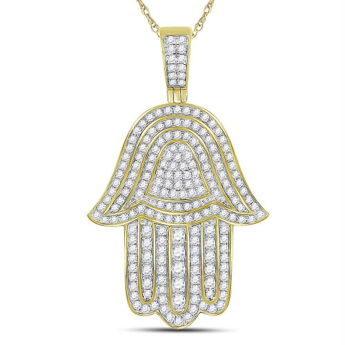 10kt Yellow Gold Mens Round Diamond Hamsa Hand Charm Pendant 1-3/4 Cttw