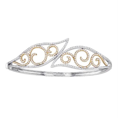 10kt Two-tone Gold Womens Round Diamond Curl Bypass Wisp Bangle Bracelet 1-1/2 Cttw