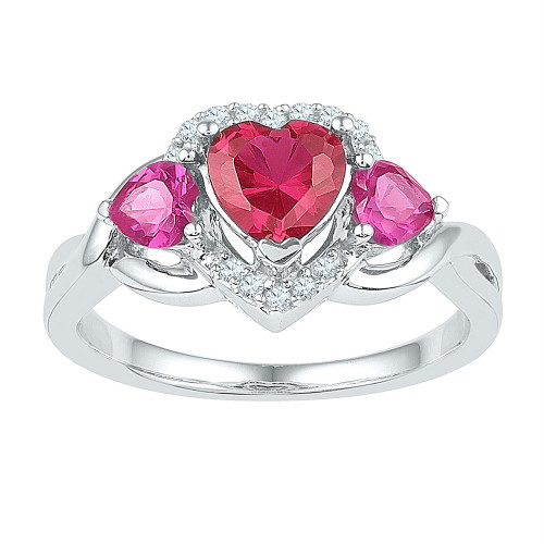 Sterling Silver Womens Heart Lab-Created Ruby Heart Three-stone Ring 1-3/4 Cttw