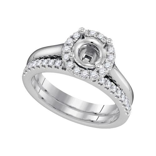 18kt White Gold Womens Round Diamond Semi-Mount Wedding Bridal Ring Set 3/8 Cttw