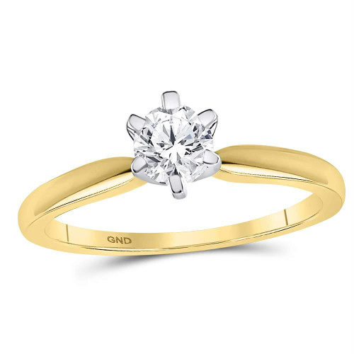 14kt Yellow Gold Womens Round Diamond Solitaire Bridal Wedding Engagement Ring 1/2 Cttw - 107190-10.5