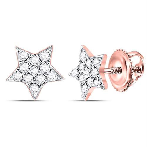 10kt Rose Gold Womens Round Diamond Star Cluster Stud Earrings 1/5 Cttw - 120003