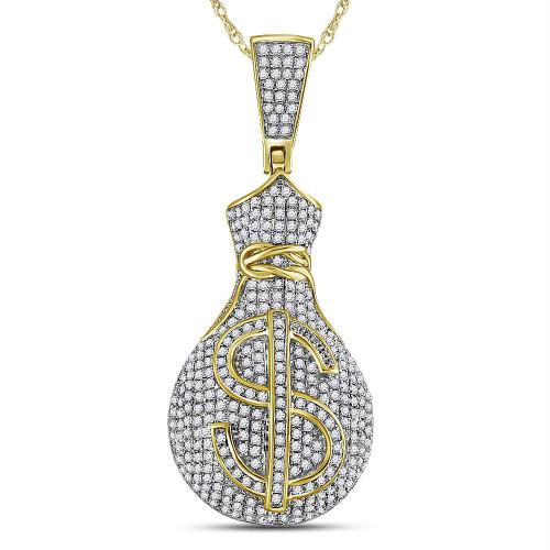 10kt Yellow Gold Mens Round Diamond Money Bag Dollar Sign Charm Pendant 1-1/6 Cttw