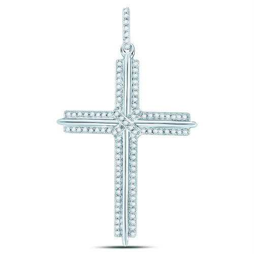 10kt White Gold Mens Round Diamond Roman Cross Charm Pendant 1/4 Cttw