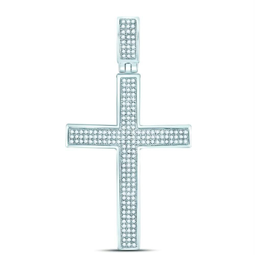 10kt White Gold Mens Round Diamond Roman Cross Charm Pendant 1/2 Cttw - 118939