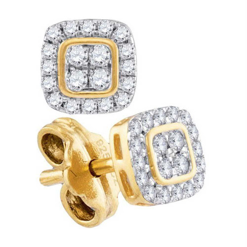 10kt Yellow Gold Womens Round Diamond Square Cluster Stud Earrings 1/5 Cttw