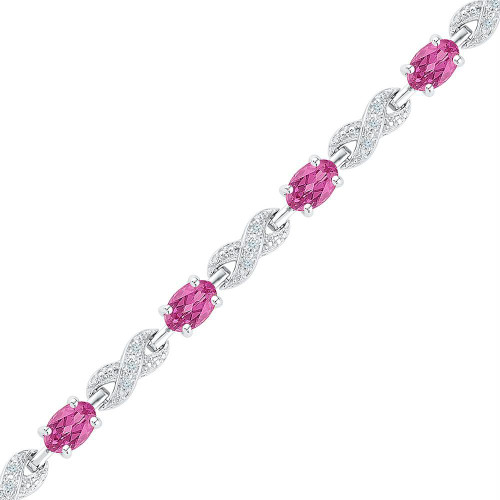 Sterling Silver Womens Oval Lab-Created Pink Sapphire Fashion Bracelet 5-1/4 Cttw