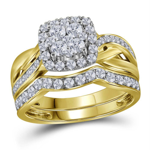 14kt Yellow Gold Womens Round Diamond Cluster Bridal Wedding Engagement Ring Band Set 1.00 Cttw - 116072