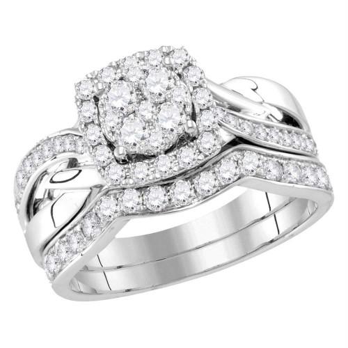 14kt White Gold Womens Round Diamond Cluster Bridal Wedding Engagement Ring Band Set 1.00 Cttw - 116073