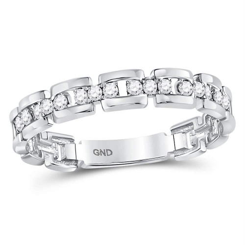 10kt White Gold Womens Round Diamond Rolo Link Stackable Band Ring 1/5 Cttw