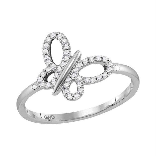 10kt White Gold Womens Round Diamond Butterfly Bug Fashion Ring 1/6 Cttw