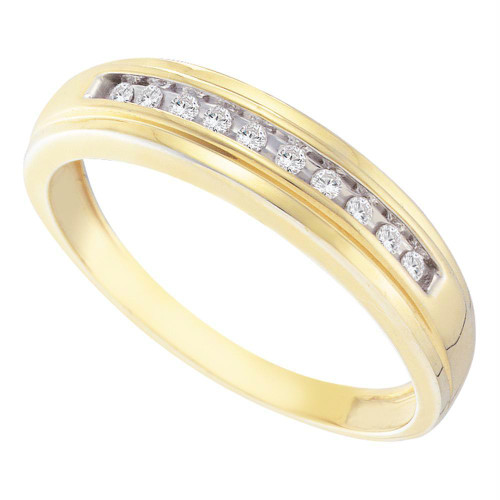 10kt Yellow Gold Mens Round Diamond Single Row Channel-set Wedding Band Ring 1/8 Cttw