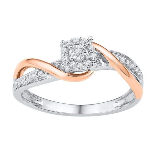 10kt Two-tone Gold Womens Round Diamond Cluster Promise Bridal Ring 1/6 Cttw