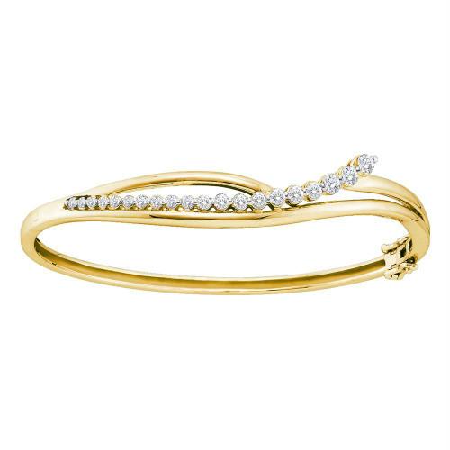 14kt Yellow Gold Womens Round Diamond Graduated Journey Bangle Bracelet 1.00 Cttw