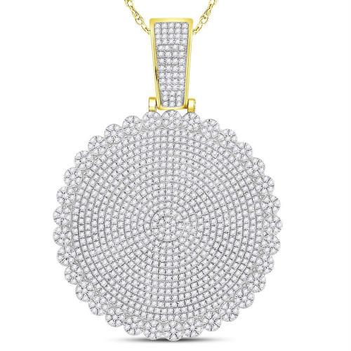 10kt Yellow Gold Mens Round Diamond Circle Cluster Charm Pendant 2-3/4 Cttw