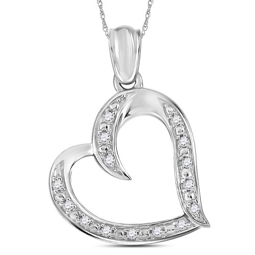 Sterling Silver Womens Round Diamond Heart Pendant 1/10 Cttw - 108448