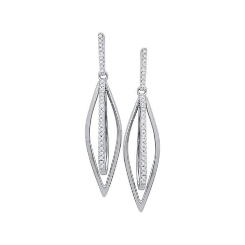 10kt White Gold Womens Round Diamond Oblong Oval Dangle Earrings 1/6 Cttw