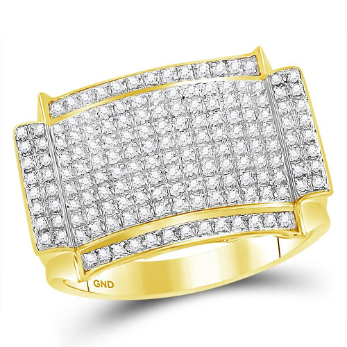 10kt Yellow Gold Mens Round Diamond Rectangle Cluster Ring 1/2 Cttw - 73302