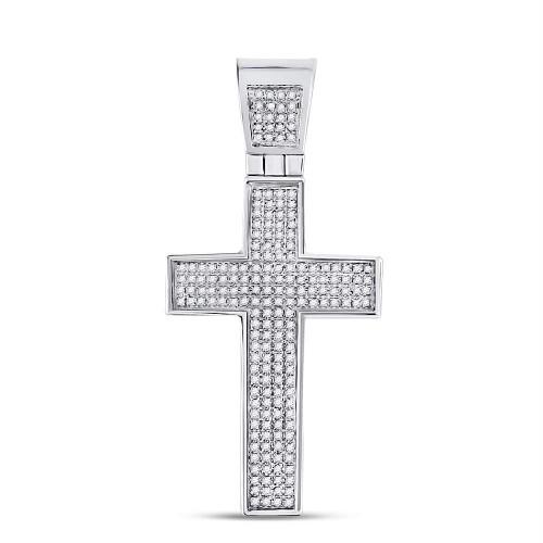 Sterling Silver Mens Round Diamond Roman Cross Charm Pendant 1/2 Cttw