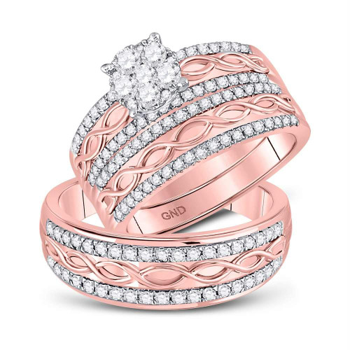 10kt Rose Gold His & Hers Round Diamond Cluster Twist Matching Bridal Wedding Ring Band Set 1.00 Cttw