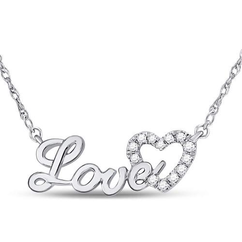 10kt White Gold Womens Round Diamond Love Heart Pendant Necklace 1/6 Cttw