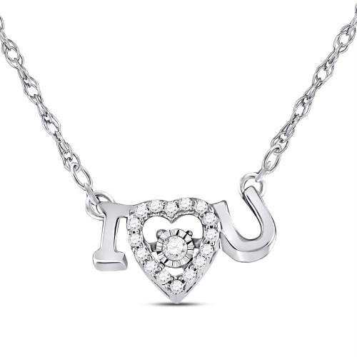 14kt White Gold Womens Round Diamond I Love U Heart Pendant Necklace 1/10 Cttw
