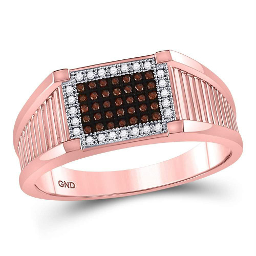 10kt Rose Gold Mens Round Red Color Enhanced Diamond Rectangle Cluster Ring 1/5 Cttw