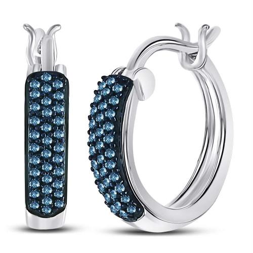 10kt White Gold Womens Round Blue Color Enhanced Diamond Huggie Earrings 1/10 Cttw