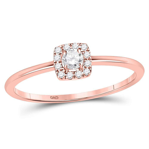 10kt Rose Gold Womens Round Diamond Solitaire Stackable Band Ring 1/5 Cttw