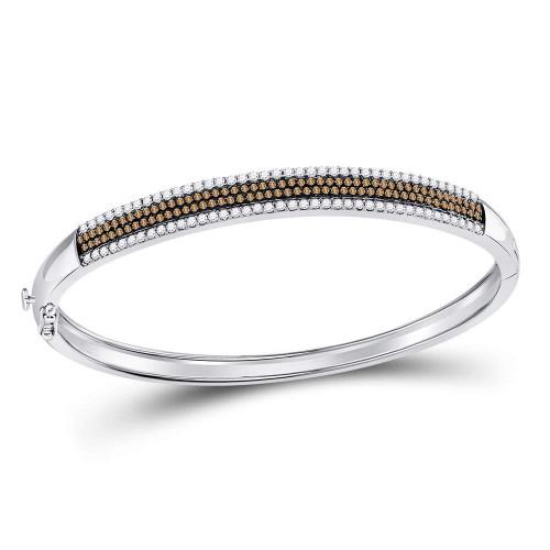 14kt White Gold Womens Round Brown Color Enhanced Diamond Bangle Bracelet 1-3/8 Cttw