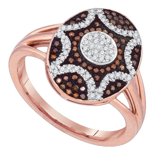 10kt Rose Gold Womens Round Red Color Enhanced Diamond Oval Starburst Ring 1/3 Cttw