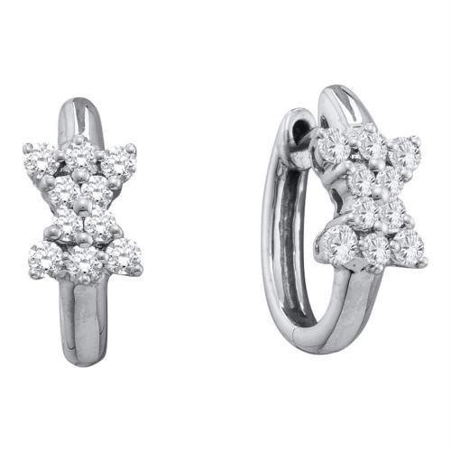 14kt White Gold Womens Round Diamond Cluster Huggie Earrings 1/2 Cttw