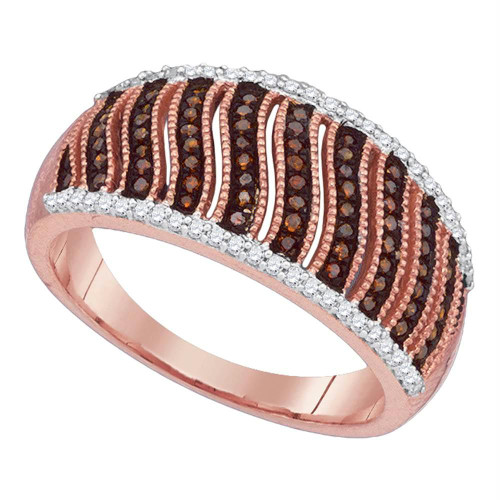 10kt Rose Gold Womens Round Red Color Enhanced Diamond Striped Ring 3/8 Cttw