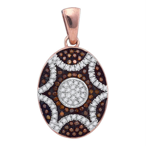 10kt Rose Gold Womens Round Red Color Enhanced Diamond Oval Starburst Pendant 1/3 Cttw
