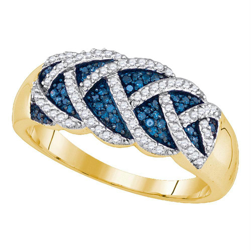 10kt Yellow Gold Womens Round Blue Color Enhanced Diamond Braid Band Ring 3/8 Cttw