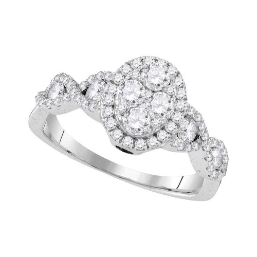 10kt White Gold Womens Round Diamond Oval Cluster Twist Ring 1.00 Cttw