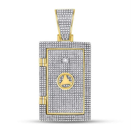 10kt Yellow Gold Mens Round Diamond Bank Safe Vault Charm Pendant 1-1/3 Cttw