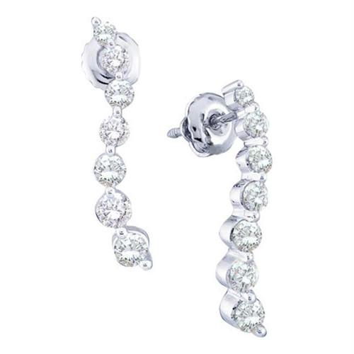 14kt White Gold Womens Round Diamond Graduated Journey Stud Earrings 1.00 Cttw