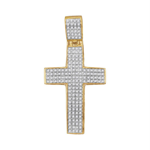 10kt Yellow Gold Mens Round Diamond Roman Cross Charm Pendant 1/2 Cttw - 111662