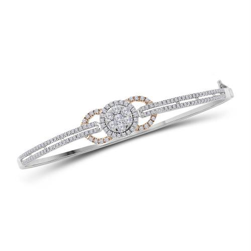 14kt White Gold Womens Round Diamond Cluster Circle Bangle Bracelet 7/8 Cttw