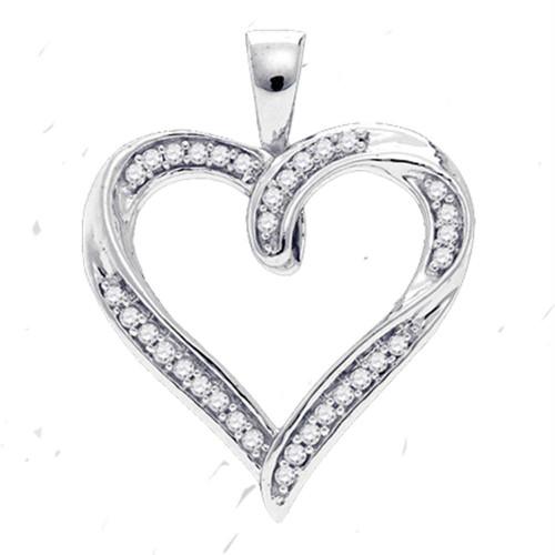 10kt White Gold Womens Round Diamond Heart Pendant 1/10 Cttw - 84330