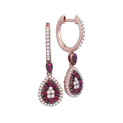 18kt Rose Gold Womens Round Ruby Diamond Teardrop Dangle Earrings 7/8 Cttw
