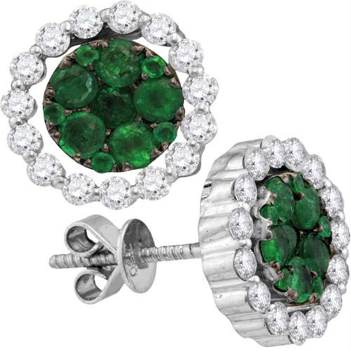 18kt White Gold Womens Round Emerald Diamond Convertible Dangle Jacket Earrings 1-7/8 Cttw