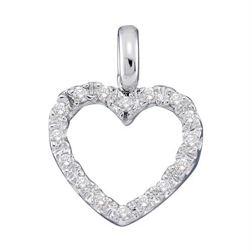 14kt White Gold Womens Round Diamond Heart Pendant 1/10 Cttw